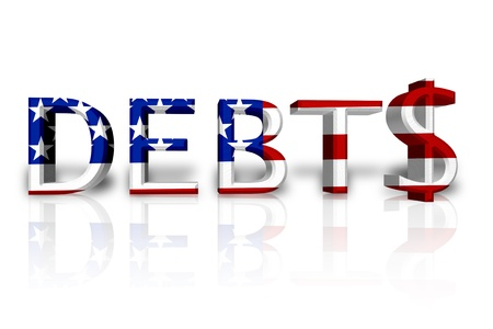 The word Debt in 3D in the American flag colors with dollar sign isolated on white, United States Debts Stock Photo - 14473516