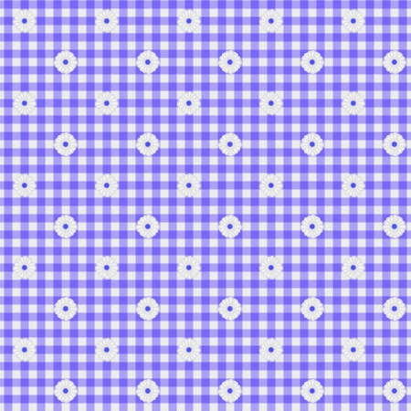 A light purple gingham fabric with flowers background that is seamless photo