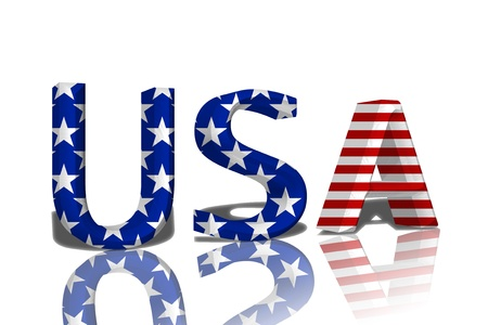 The word USA in 3D in the American flag colors isolated on white Stock Photo - 14576903