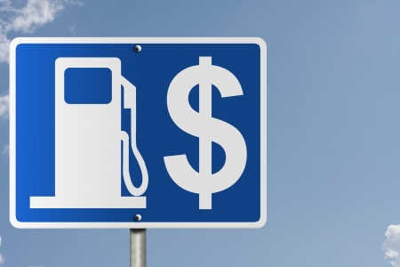 An American road sign with a sky background gas symbol and dollar sign, The price of gas photo