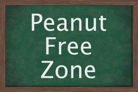 allergic reaction: Chalkboard words Peanut Free Zone, Schools that are peanut free