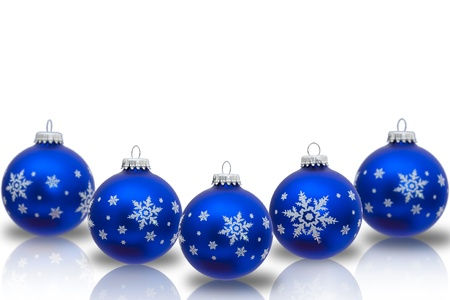 blue christmas ornaments with snowflakes isolated on white christmas time stock photo 14658733 - Blue Christmas Ornaments