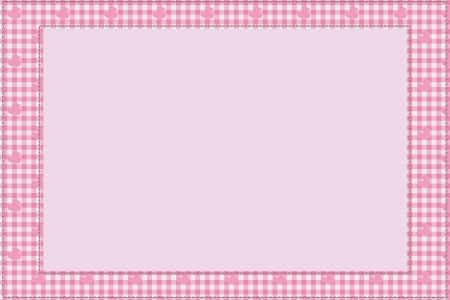 Pink gingham material for a border with copy-space,  Baby Pink Background for your message Stock Photo