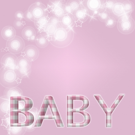 baby border: White flares, star and star shapes and word Baby in pink gingham with of copy-space, Pale pink baby background