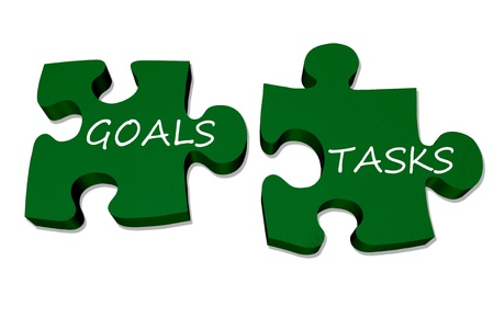 explain: Green puzzle pieces with words goals and tasks isolated over white, Goals and tasks go together