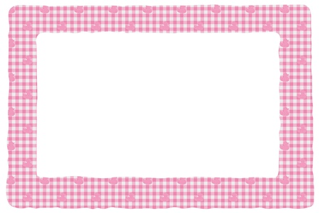 Baby pink gingham material for a border with copy-space,  Baby Background for your message photo