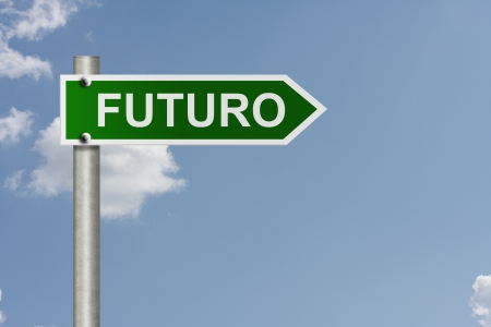 An American road sign with sky background and copy space for your message, Futuro