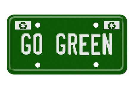 The words go green on a green license plate isolated on white, Go Green photo