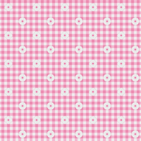 A light pink gingham fabric with flowers background that is seamless photo