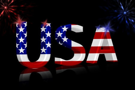 The word USA in the American flag colors isolated on black with fireworks photo