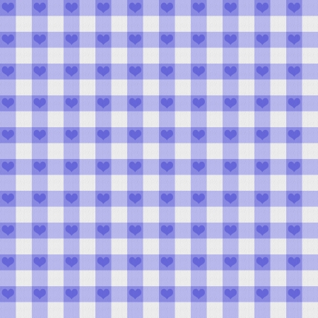A light purple gingham fabric with hearts background that is seamless photo