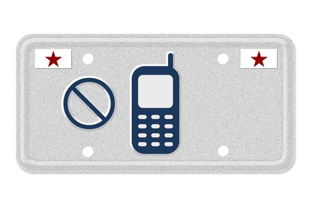 The not symbol and cellphone on a gray license plate with stars symbol isolated on white, No texting or cell phones when driving Stock Photo - 14768821
