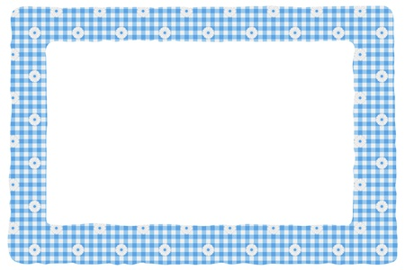 Blue gingham material for a border with copy-space,  Baby Background for your message photo