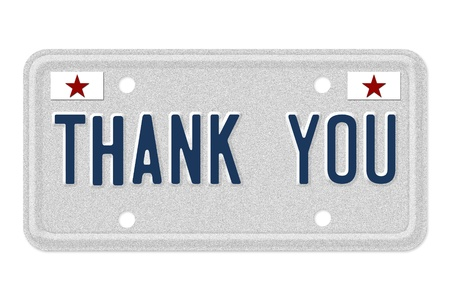 The words Thank you on a gray license plate with stars symbol isolated on white, Thank you