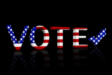 The word Vote in 3D in the American flag colors the a check mark isolated on black, American Vote Stock Photo - 14768823