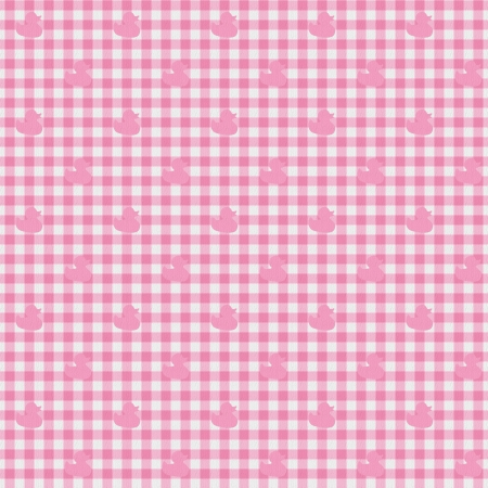 A light pink gingham fabric with ducks background that is seamless photo