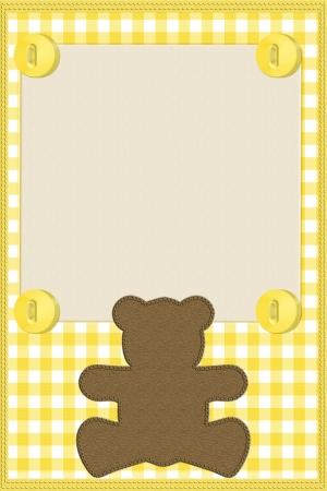Copia espacio y un osito de peluche en color amarillo material de algod�n a cuadros, fondo de beb� Foto de archivo - 14849333