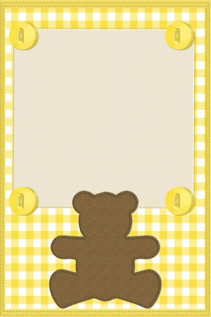 Copy space and a teddy bear on yellow gingham material, Baby background