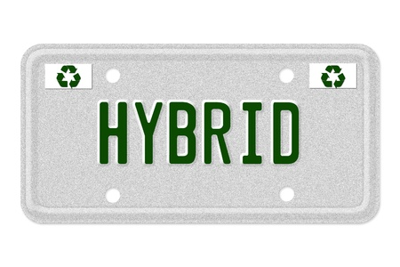 The word Hybrid on a gray license plate with recycle symbol isolated on white, Hybrid Car License Plate photo