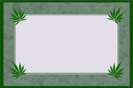 marijuana leaf: A green marijuana material frame with stitching edges and copy space for your text