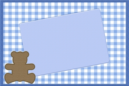 Copy space and a teddy bear on blue gingham material, Baby Boy background