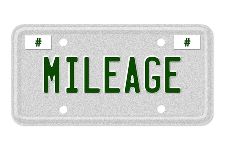 mileage: The word Mileage on a gray license plate with recycle symbol isolated on white, Mileage Car  License Plate