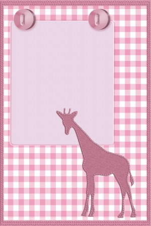 Copy space and a giraffe and buttons on pink gingham material, Baby Girl background photo