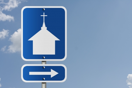 An American road sign with a sky background and church symbol and arrow, Church this way photo