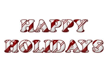 canes: Le parole Happy Holidays in colori Candy Cane isolamento rosso e strisce bianche su bianco
