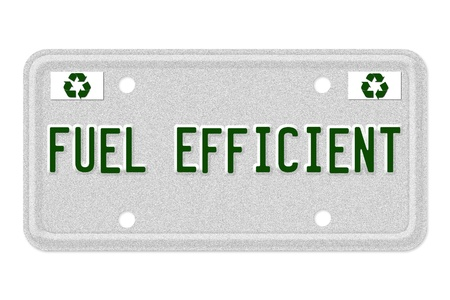 mpg: The word MPG on a gray license plate with recycle symbol isolated on white, Fuel Efficient Car  License Plate Stock Photo