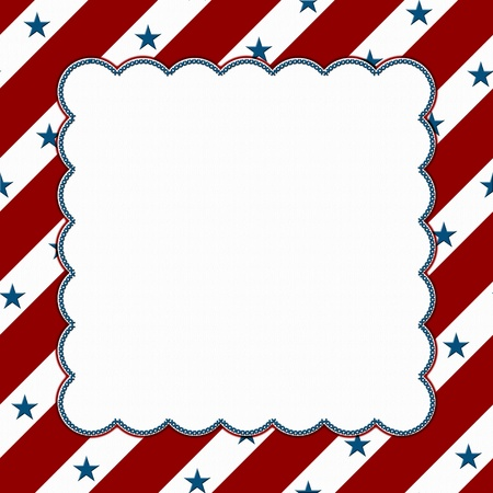 bordure de page: Rouge et blanc cadre célébration américaine pour votre message ou une invitation avec copie-espace au milieu