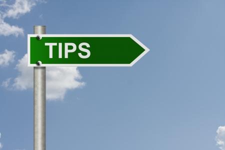 Een Amerikaanse verkeersteken met hemelachtergrond en kopieer ruimte voor uw bericht, klik hier voor tips Stockfoto - 15237650