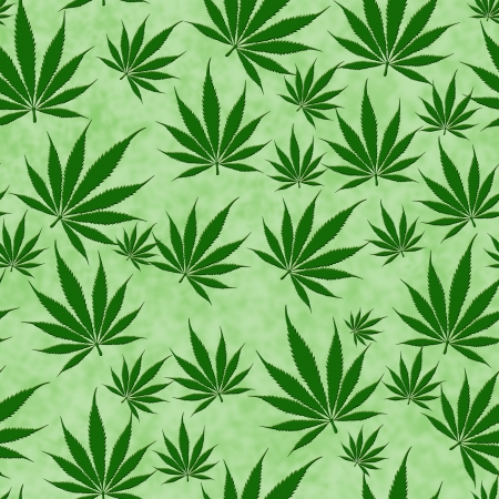 A bunch of  marijuana leaves on a green  background that is seamless