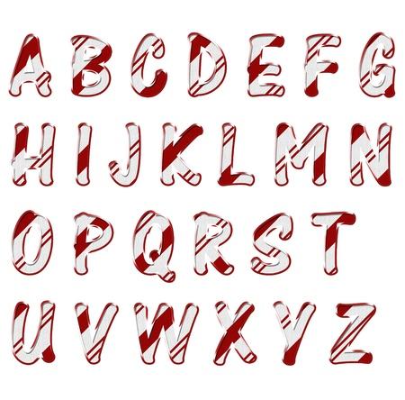 typology: Las letras del alfabeto hechas de material de color rojo y blanco rayas, alfabeto Tiempo de Navidad