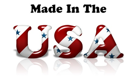 The words Made In The USA in the American flag colors isolated on white photo