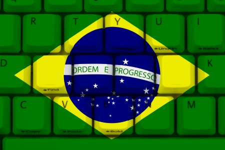 bric: Computer keyboard the Brazil flag on it, Internet in Brazil Stock Photo
