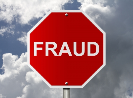 An American road stop sign with word fraud with clouds and sky, Help stop Fraud