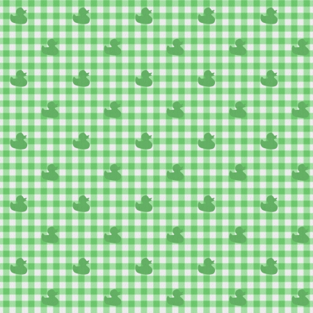 gingham: A light green gingham fabric with ducks background that is seamless