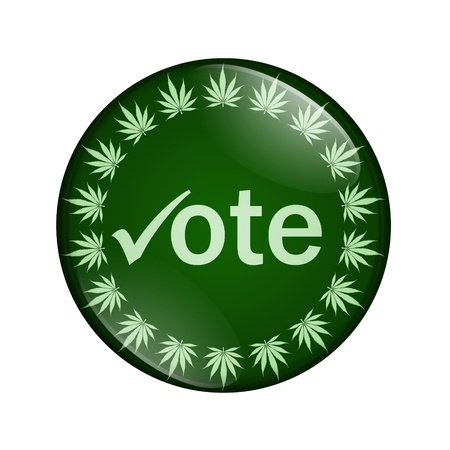 A green button marijuana leafs and word vote isolated on a white background, Vote to legalize marijuana button photo