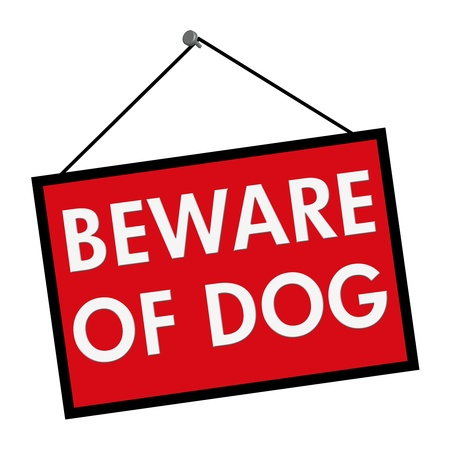 A red, white and black sign with the words Beware of Dog isolated on a white background photo