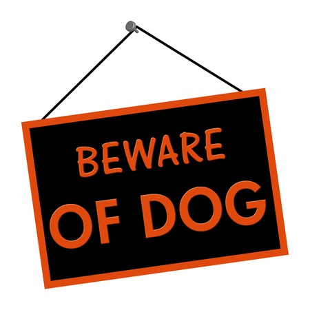 A orange and black sign with the words Beware of Dog isolated on a white background Stock Photo - 15414340