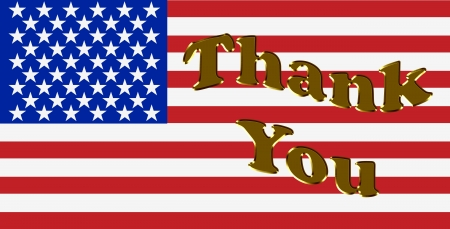 thankful: Thank you written in gold letters over a American Flag, Thank You America Stock Photo