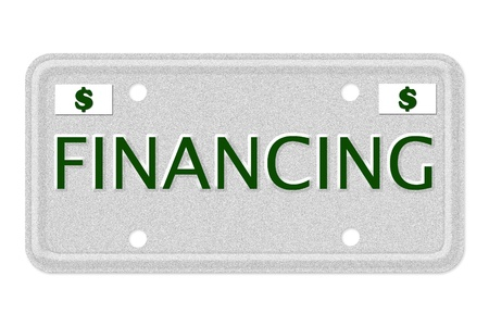 The word Financing on a gray license plate with dollar sign symbol isolated on white, Financing Car  License Plate photo