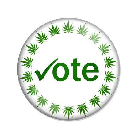 A white button marijuana leafs and word vote isolated on a white background, Vote to legalize marijuana button