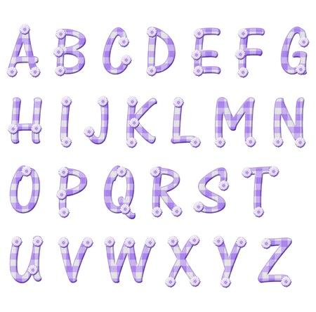 typology: Las letras del alfabeto hechas de material de algod�n a cuadros p�rpura y flores, letras beb�