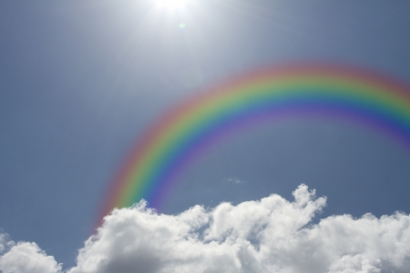 Blue sky with rainbow with copy-space Stock Photo - 15658477