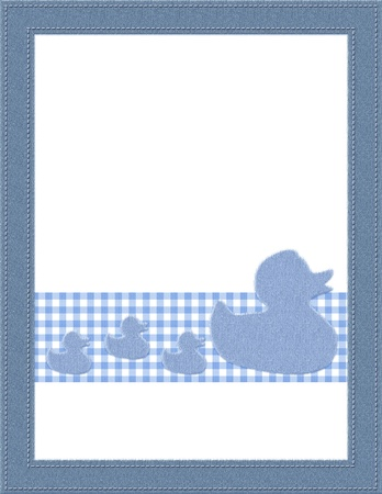Blue and White Baby Frame for your message or invitation with copy-space in the middle Stock Photo - 15658478