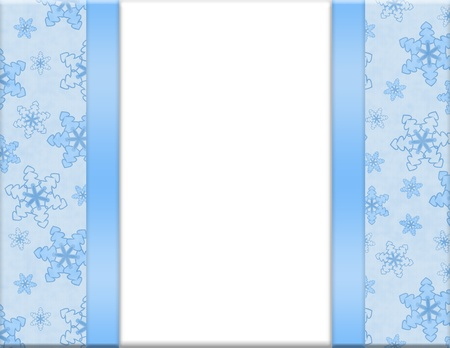 Blue and White Snowflake Frame for your message or invitation with copy-space in the middle photo