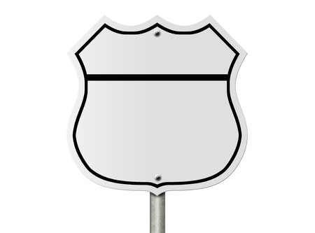 staycation: An American interstate road sign blank for your message isolated over white