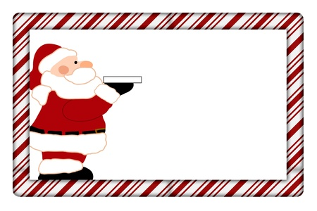 Candy Cane with Santa Frame for your message or invitation with copy-space in the middle Stock Photo - 15912647
